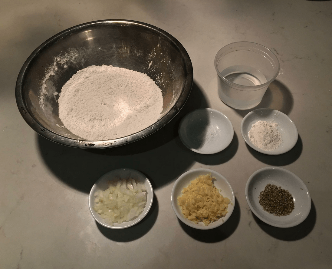 The Urban Peasant's Pizza Dough mise en place.