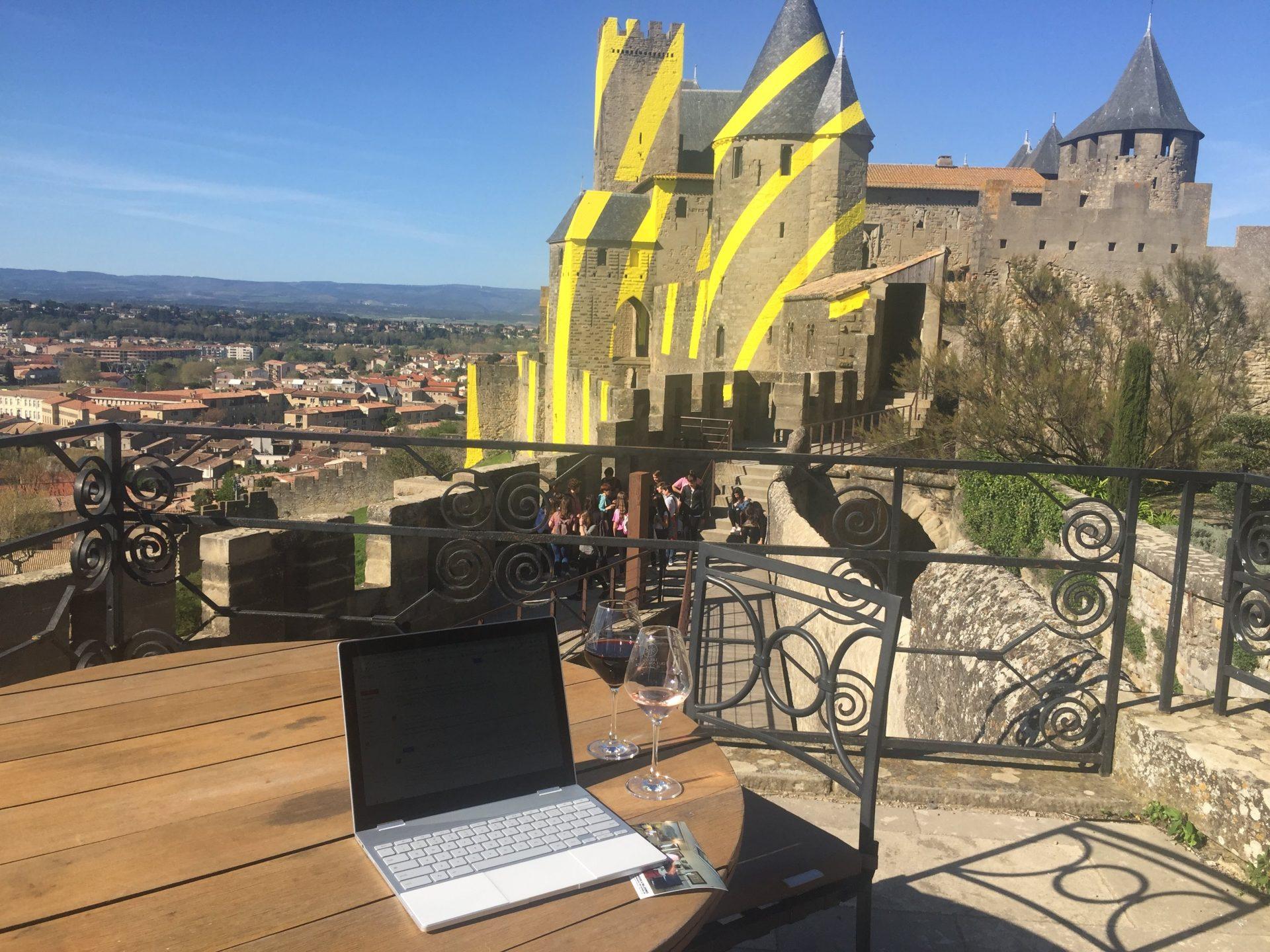 My office at Hotel de La Cité, Carcassonne, overlooking the rather special castle of Carcassonne.