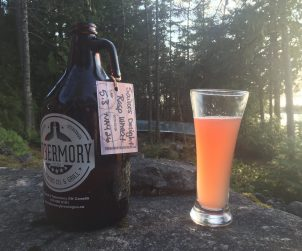 Sitting on the shore of Lake Huron with a growler of Tobermory Brewery's wonderful Sailor's Delight Raspberry Wheat Beer. Sublime.