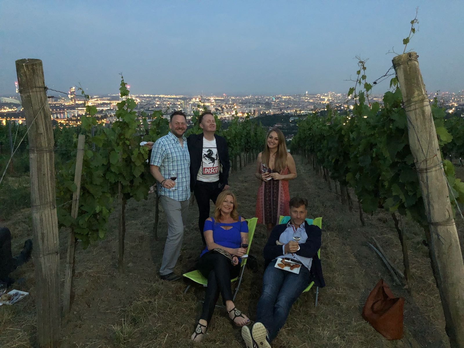 Most of our little crew up on the hillsides overlooking Vienna as part of the Nussberg vineyard party.