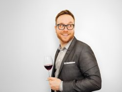 Vincent Lafortune enjoys a sly glass of wine whilst taking a break from organising the 2018 Somm360.
