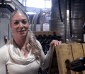 Adamo's Winemaker Shauna White shows off her new traditional method sparkling blanc de blancs.