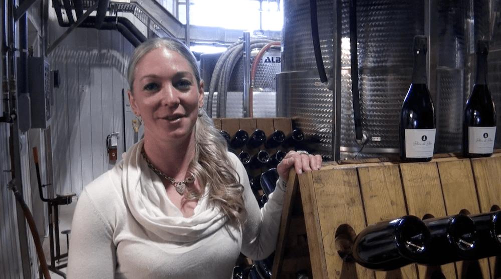 Adamo's Winemaker Shauna White shows off her new traditional method sparkling blanc de blancs.