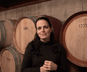 In the barrel cellar at Peller Estates winery with Winemaker Katie Dickieson.