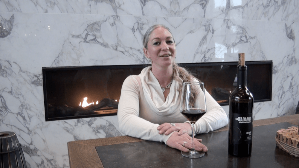 Winemaker Shauna White shows off the 2016 Edgerock Merlot.