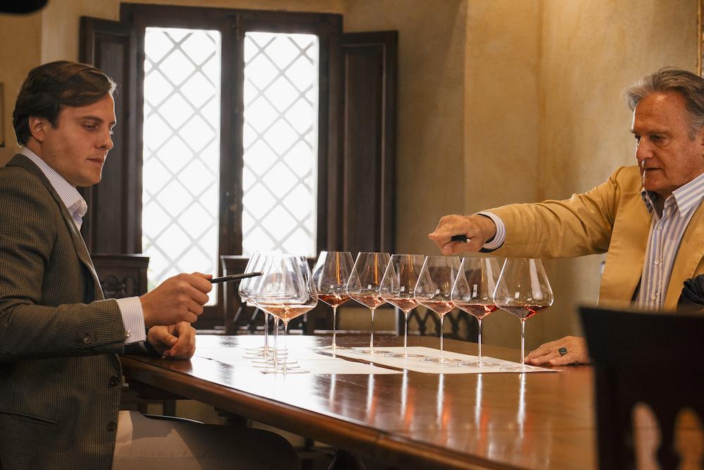 Tancredi tastes with his father, Jacapo Bioni Santi, at their 600 ha Maremma, Tuscany property, Castello di Montepò.