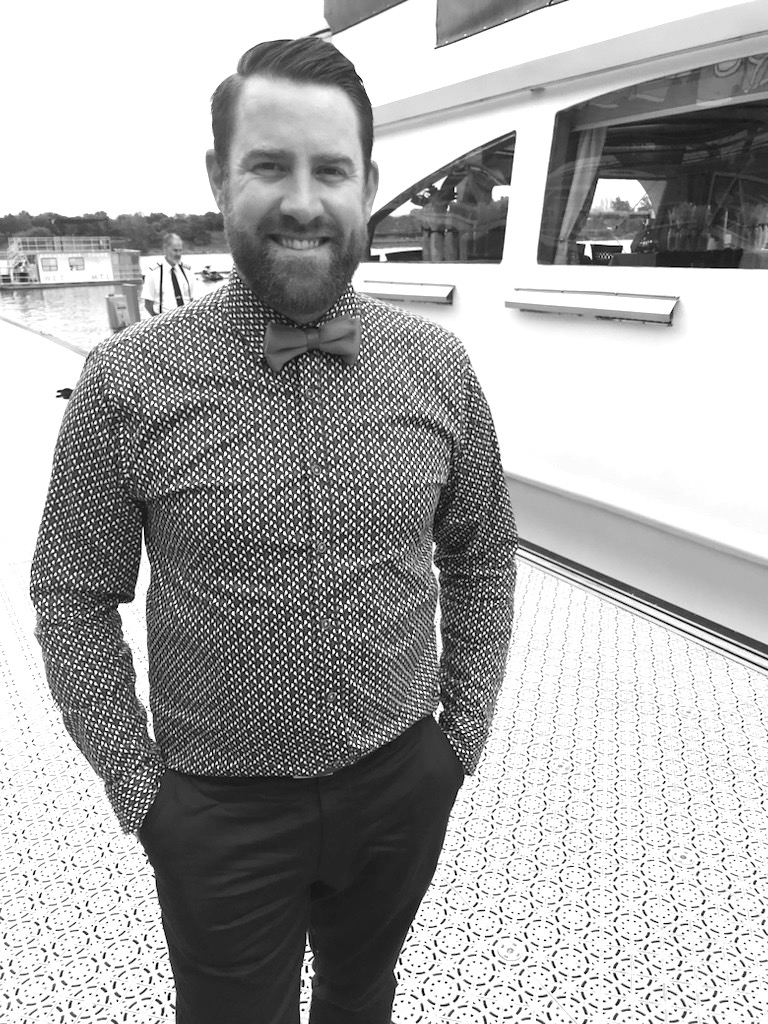 About to get on a boat replete with a bow-tie... Quebec City-based Young Blood Sommelier Marc Lamarre.